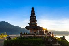 Pura Ulun Danu Bratan at sunrise, Bali royalty free stock image