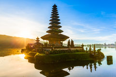 Pura Ulun Danu Bratan at sunrise, Bali, Indonesia stock photography