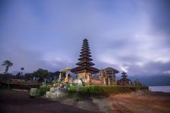 Pura Ulun Danu Bratan before sunrise, Hindu temple in Bratan lake Bali, Indonesia stock image