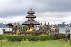 Pura Ulun Danu Bratan temple in Bali island. Hindu temple in flowers on Beratan lake, Asia Royalty Free Stock Photo
