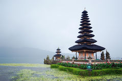 Pura Ulun Danu Bratan temple at Bali in raining day Stock Photos