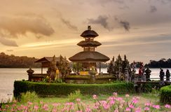 Pura Ulun Danu Bratan temple on the Bratan lake, Bali, Indonesia.  royalty free stock images