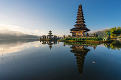 Pura Ulun Danu Bratan temple reflection, landmark of Bali island Stock Photos