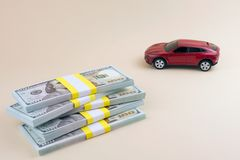 Purchase auto car loan buying. Purchase auto dealership and rental car, car loan buying a new car concept. red car money royalty free stock photography