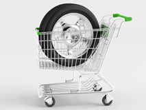 Purchase of automotive wheels Royalty Free Stock Photos