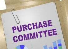 PURCHASE COMMITTEE concept. 3D illustration of PURCHASE COMMITTEE title on business document Stock Image