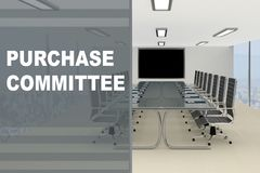 PURCHASE COMMITTEE concept. 3D illustration of PURCHASE COMMITTEE title on a glass compartment Stock Photography