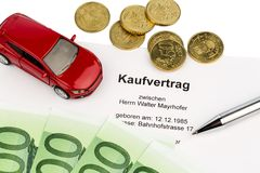 Purchase contract for car Royalty Free Stock Images