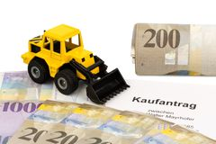 Purchase contract for new excavator Stock Photography