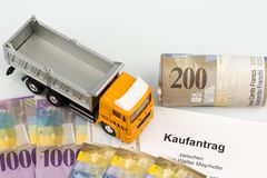 Purchase contract for new truck Stock Photography