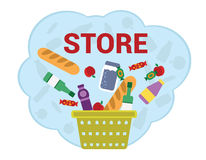 Purchase food products. Various food products are flying to the shopping basket Royalty Free Stock Photos