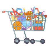 Purchase goods shopping cart preparation education colladge school knowledge flat design character vector illustration. Purchase goods shopping cart preparation vector illustration