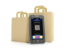 Purchase of goods via mobile Stock Images