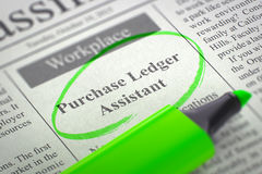 Purchase Ledger Assistant Job Vacancy. 3D. Royalty Free Stock Photo