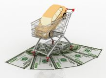 Purchase of machine in a cart from a supermarket Stock Photography
