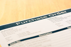 Purchase order form document Royalty Free Stock Photography