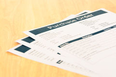 Purchase order form document Royalty Free Stock Photos