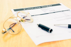 Purchase order form document Royalty Free Stock Images
