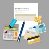 Purchase order po document paper work procurement vector illustration