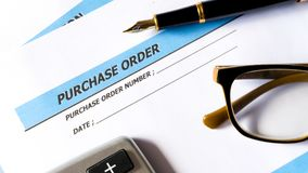 Purchase order for procurement order document of business. On white paper background stock images