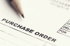 Purchase Order Sheet Royalty Free Stock Photos