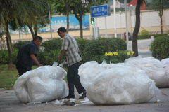 Purchase of plastic waste traders in SHENZHEN Royalty Free Stock Photos