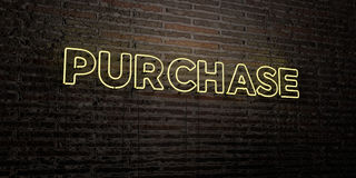PURCHASE -Realistic Neon Sign on Brick Wall background - 3D rendered royalty free stock image. Can be used for online banner ads and direct mailers Stock Photo