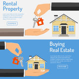 Purchase and rental real estate banners. Hand giving home keys in the other hand. rental property and buying real estate horizontal banners with flat style icon Royalty Free Stock Photos