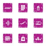 Purchase sale icons set, grunge style. Purchase sale icons set. Grunge set of 9 purchase sale vector icons for web isolated on white background Stock Photo