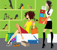 Purchase of shoes. Colorful vector illustration of woman in shop shoes