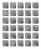 Purchase via the Internet, payment, delivery, icons, gray, vector. The white contour drawings on gray background with shadow. Vector clip art Royalty Free Stock Images