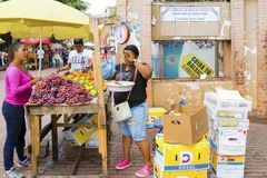 Purchases at fruit banquet in avenida central panama city stock photo