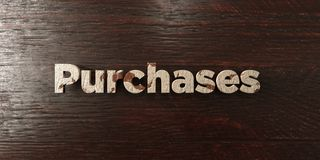 Purchases - grungy wooden headline on Maple - 3D rendered royalty free stock image. This image can be used for an online website banner ad or a print postcard vector illustration