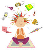 Purchases meditation. Funny woman dreams or meditate about a lot of purchases Stock Photo