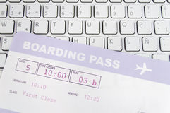 Purchasing airline tickets Stock Image