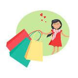 Purchasing Concept with Smiling Girl Holding Packs. Purchasing template with smiling young girl holding red, green and yellow packages vector colorful Stock Photos