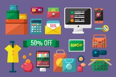 Purchasing goods in internet store set, online shopping vector Illustrations. Web design Stock Photos