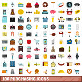 100 purchasing icons set, flat style Royalty Free Stock Photo