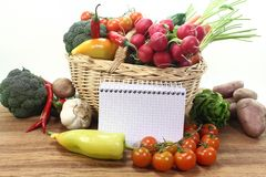 Purchasing paper with vegetables Royalty Free Stock Images