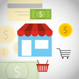 Purchasing payment design Stock Images