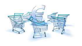 Purchasing power. Shopping carts around a euro, 3d generated Stock Photos