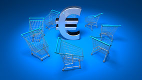 Purchasing power. Shopping carts around a euro, 3d generated Royalty Free Stock Photos