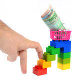 Purchasing power step by step. The concept of buying and spending money, step by step Stock Image