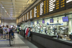 Purchasing ticketes in Penn Station New York. New York City, USA - 2 July 2017: The ticket windows for the long island railroad in Penn Station  are not as busy Stock Photography