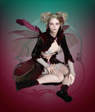 Purdey Fae. A graceful fairy with beetle wings and a cute hairstyle stock illustration
