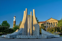 Purdue Clock tower with fountain Stock Image