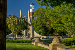 Purdue university bell clock and fountain Royalty Free Stock Images