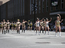 Purdue University Cheerleaders at the 500 Festival Parade at Downtown Indy Royalty Free Stock Photography
