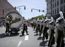 Purdue University Marching Band with World Largest Drum at 500 Festival Parade Stock Photo