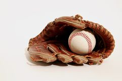Pure Baseball. Baseball glove and ball on a white background Stock Photography